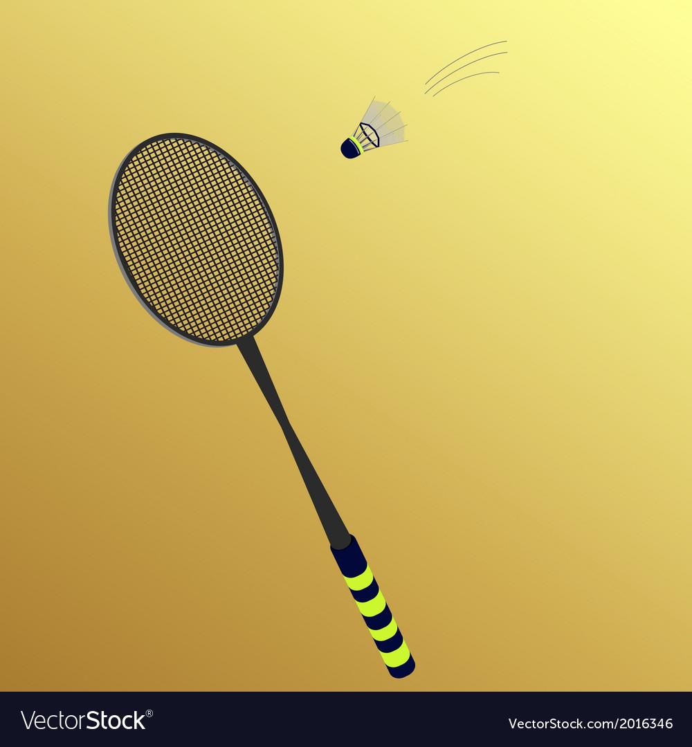Shuttlecock flies to badminton rackets vector image
