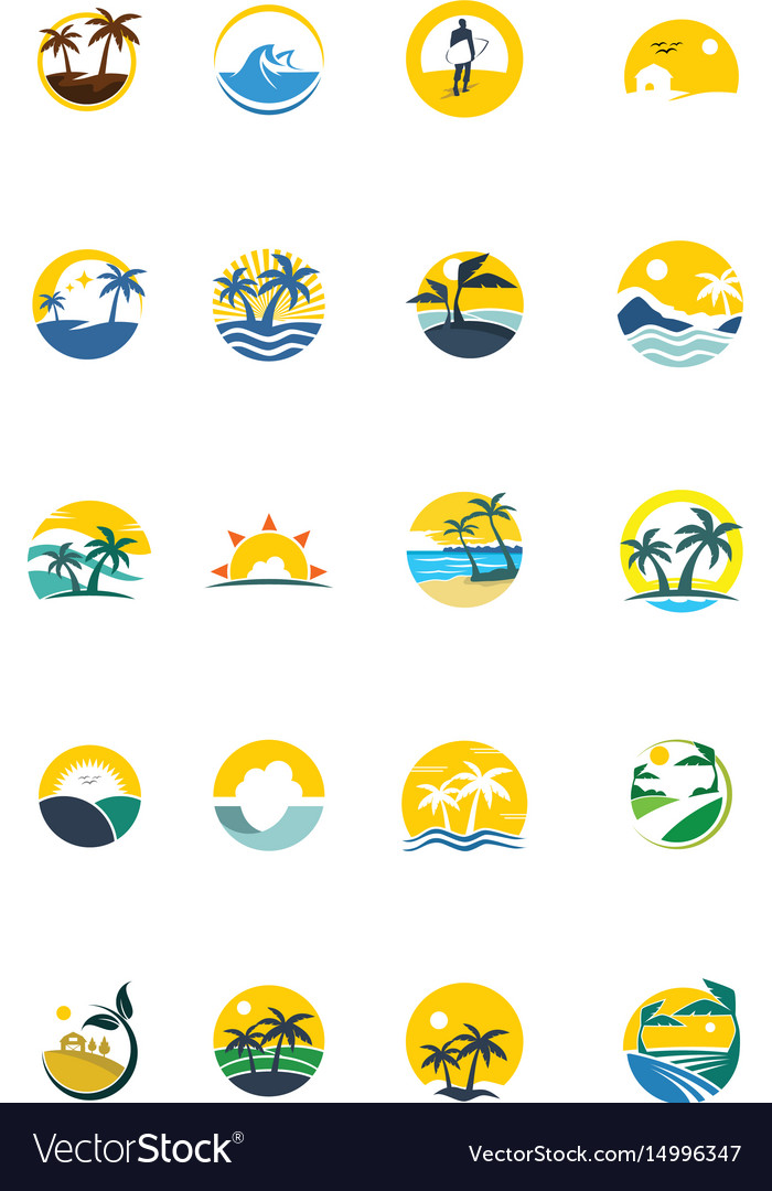 Unique summer logo set vector image