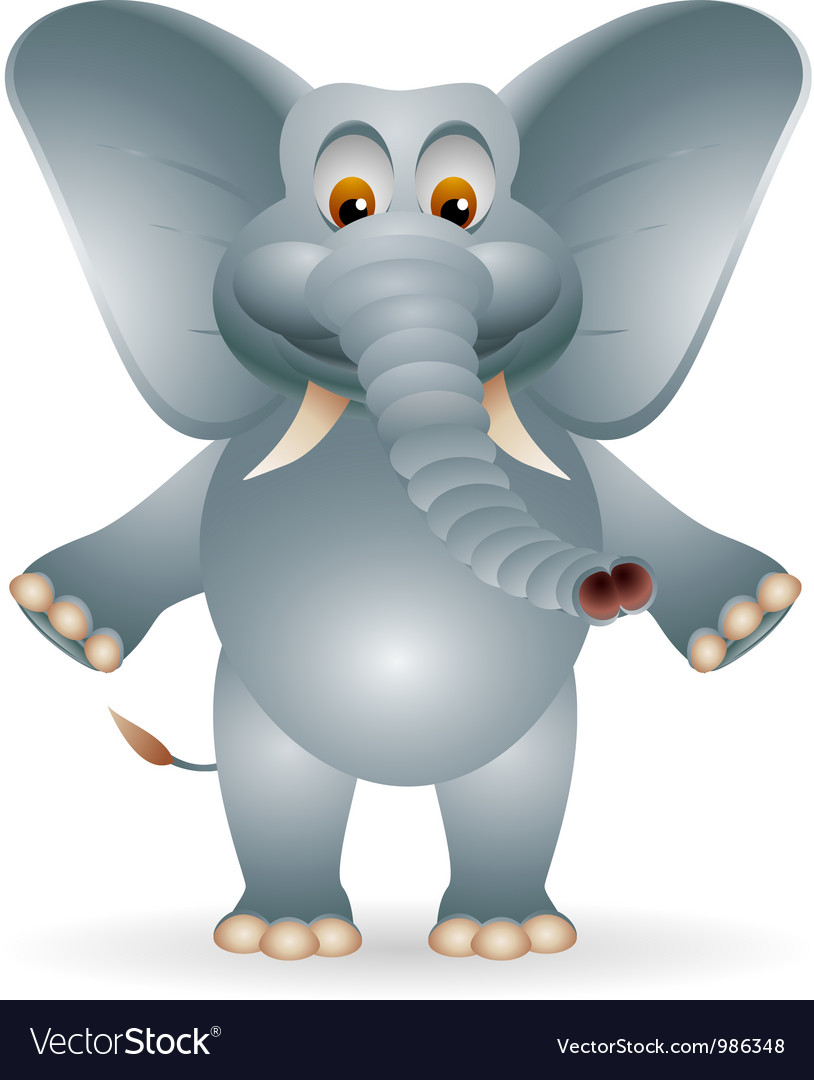 Funny fat elephant cartoon vector image
