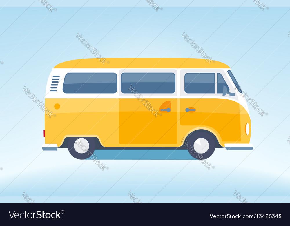 Vintage yellow minibus converted vector image