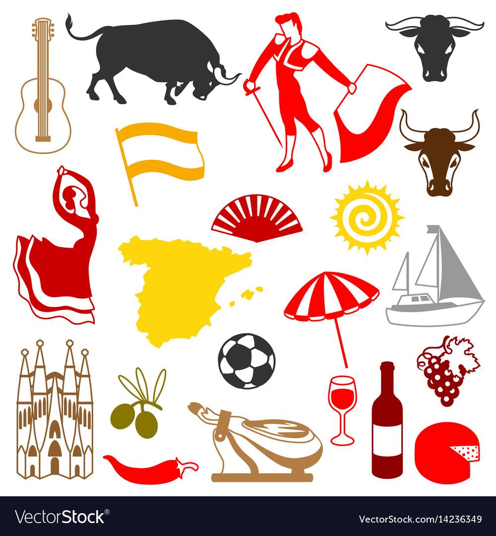Spain icons set spanish traditional symbols and vector image buycottarizona Images