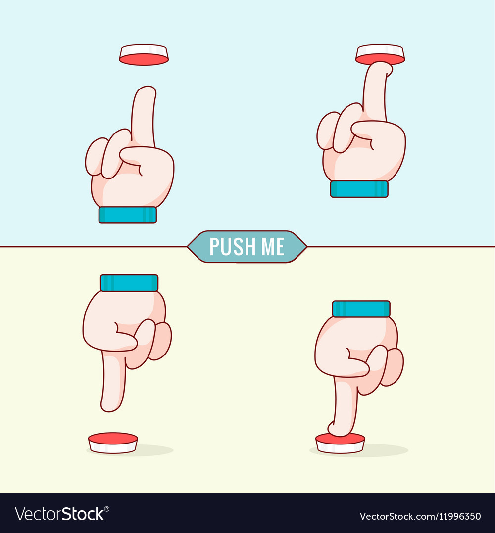 Button with hands Flat design thin line style vector image