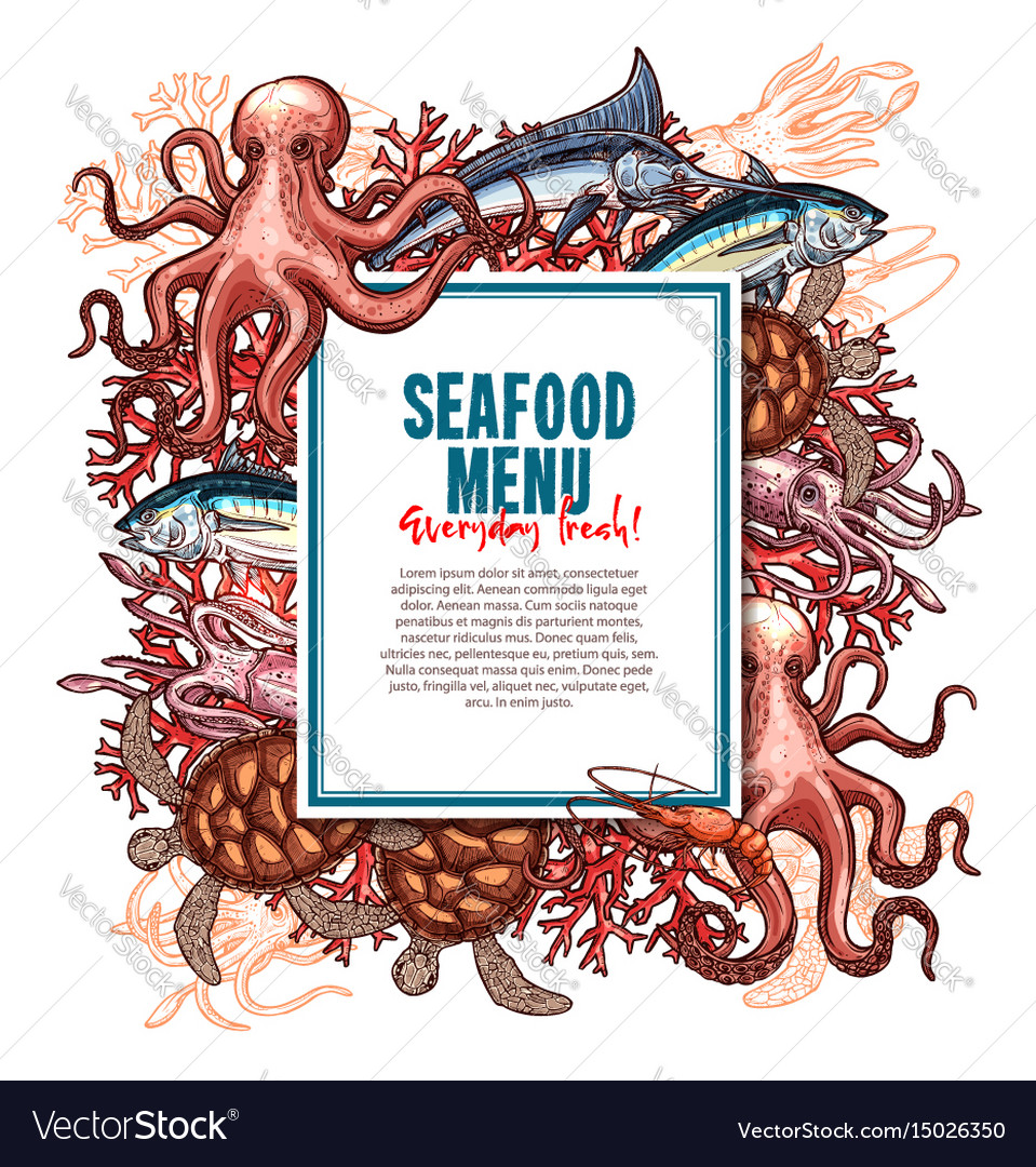 Menu for seafood or fish food restaurant vector image