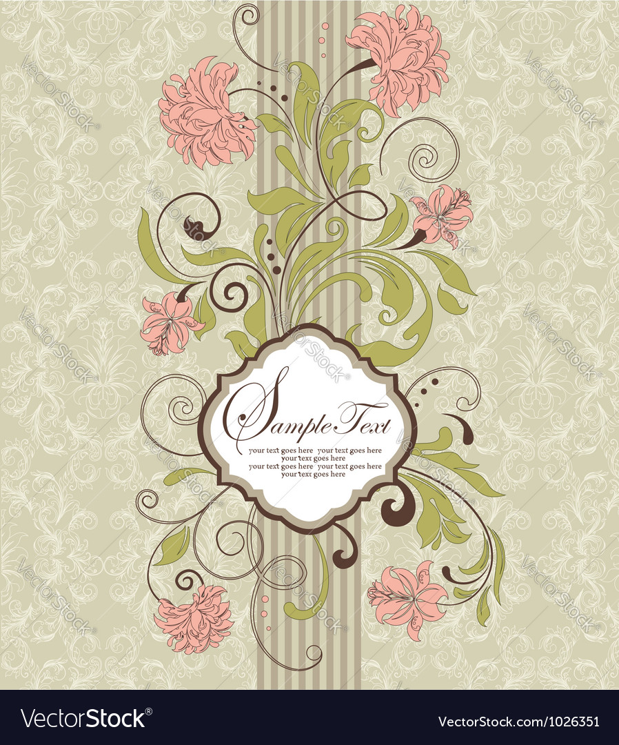 Vintage damask invitation card vector image