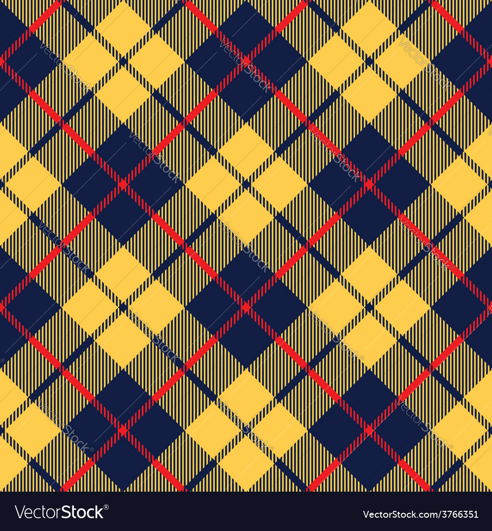 Blue orange tartan fabric texture diagonal little vector image