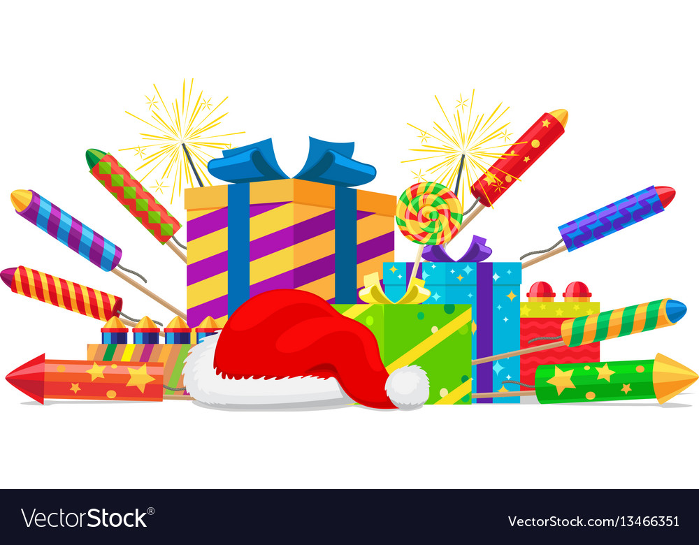 Fireworks rockets gift boxes and santas hat set vector image