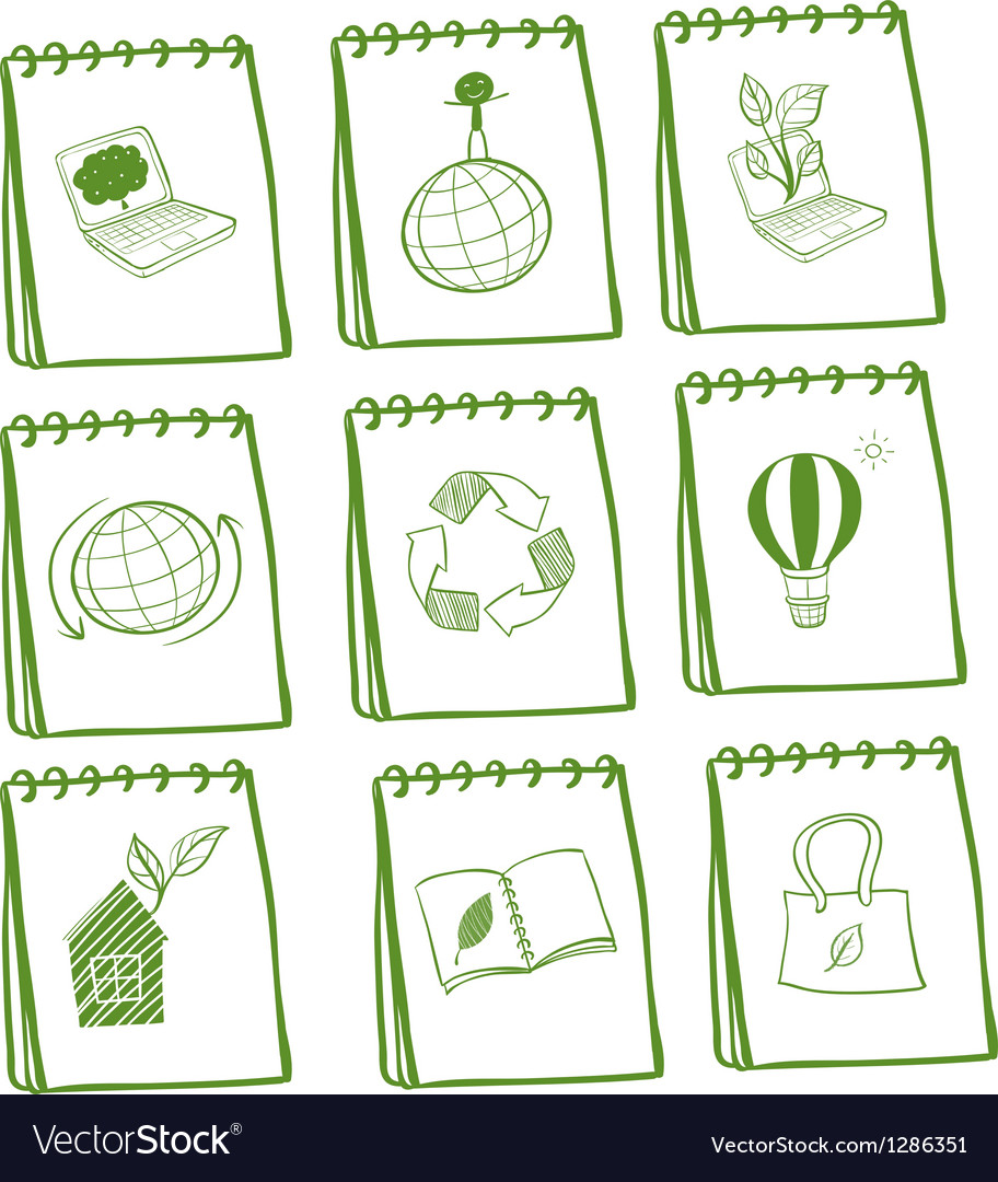 Notebooks with eco-friendly logos vector image