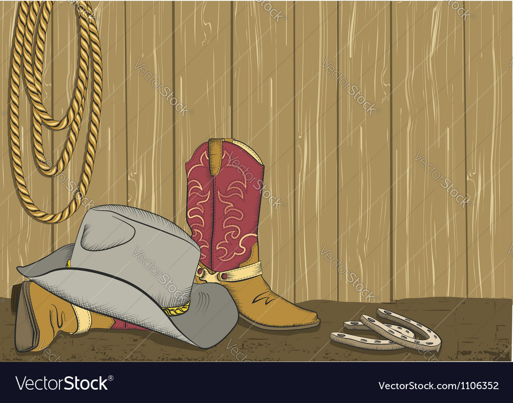 Cowboy boots and hat vector image