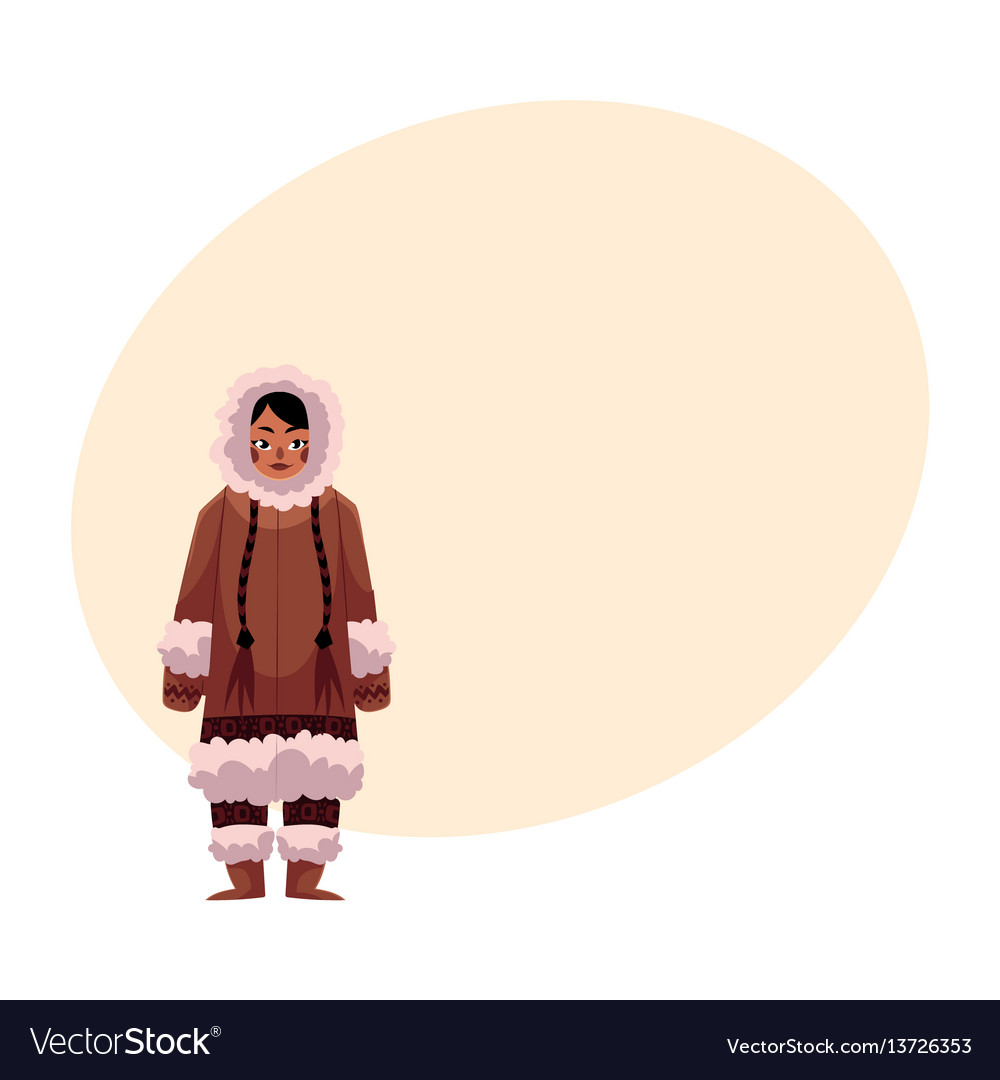 Eskimo inuit woman in warm winter clothes with vector image