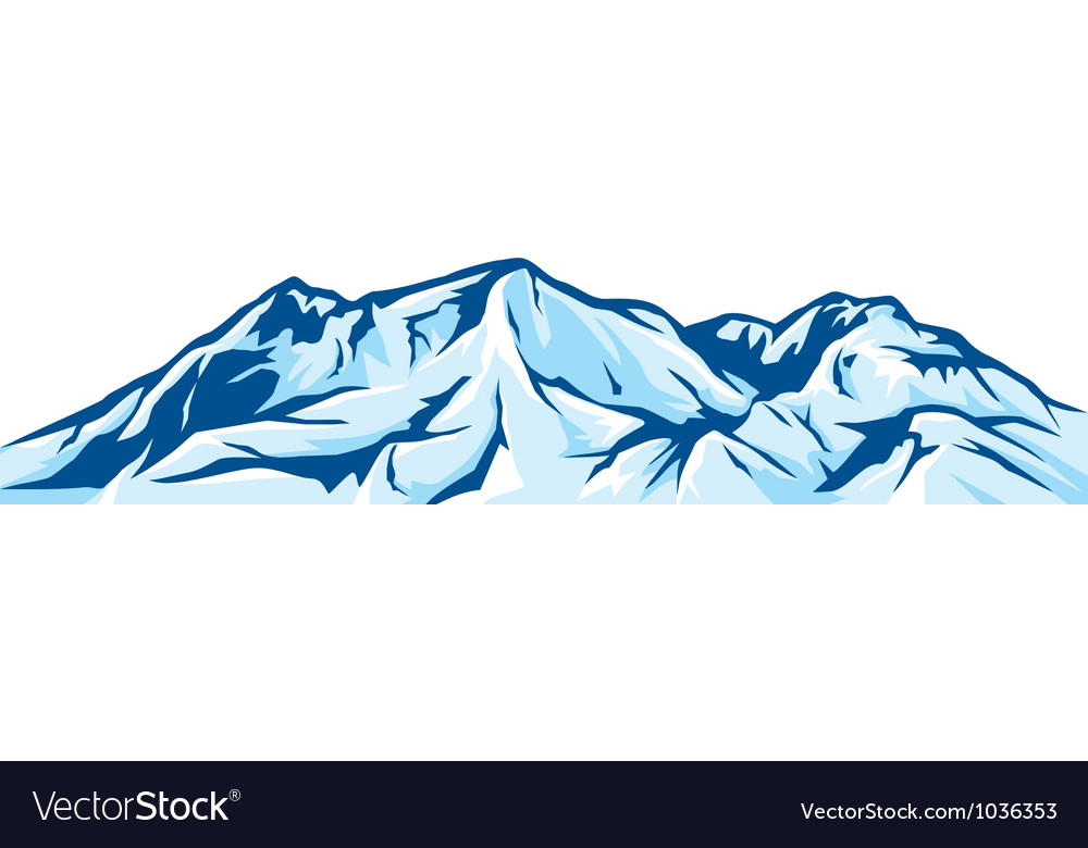 Mountain landscape - snowy mountain range vector image