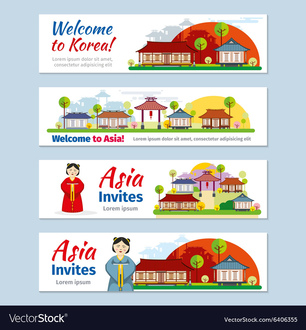 Korea japan thailand travel banners vector image
