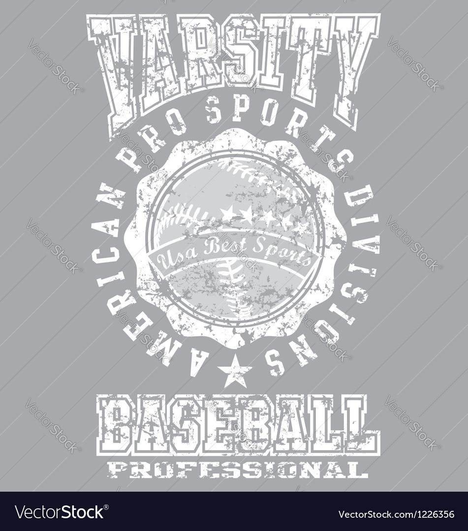 Varsity baseball vector image