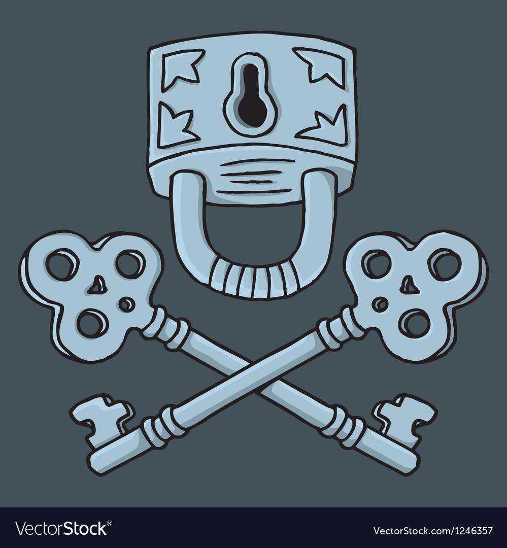 Jolly Roger padlock vector image