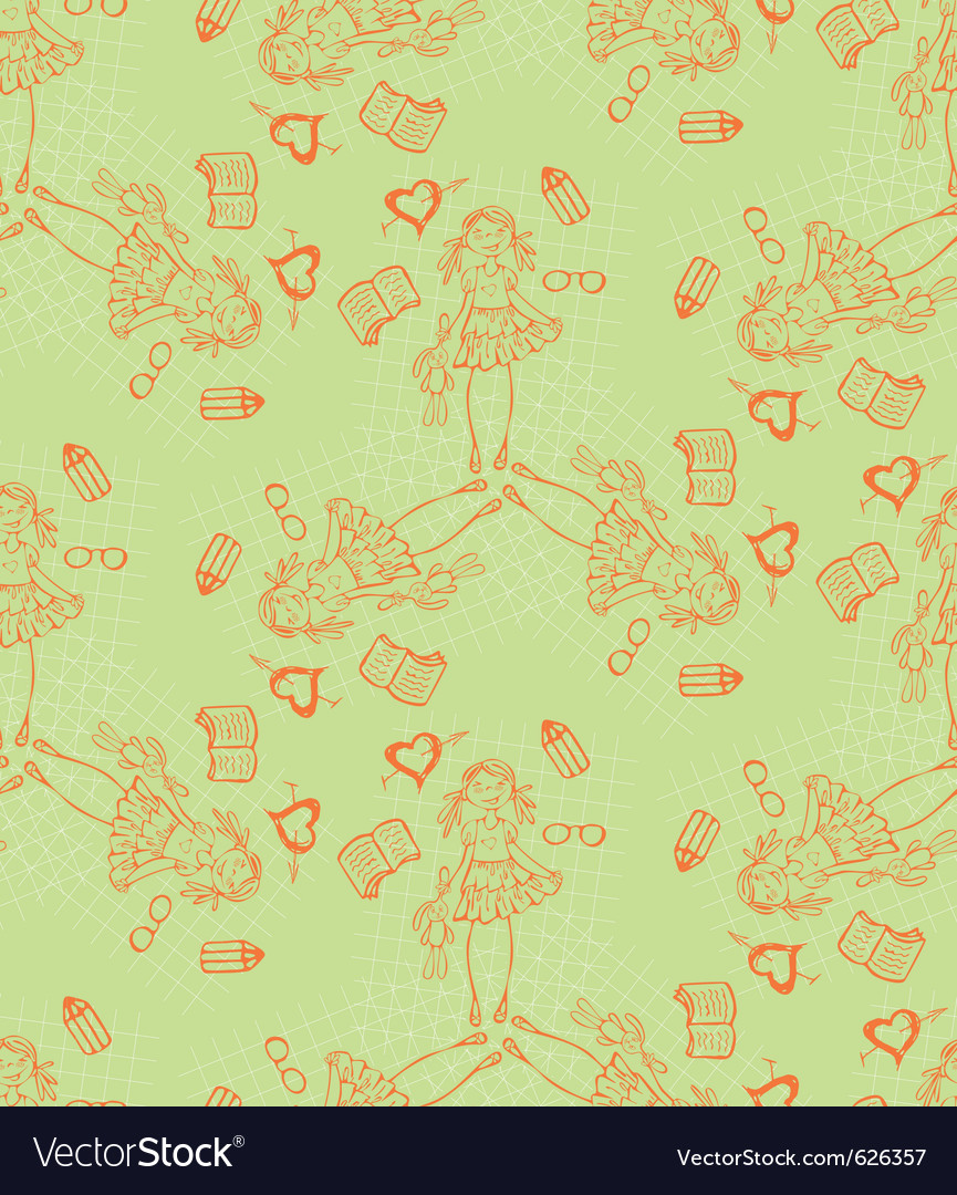 Baby girl cartoon seamless pattern glamour backgro vector image