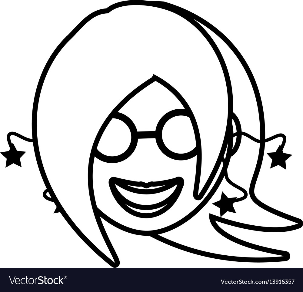 Face girl funny glasses outline vector image