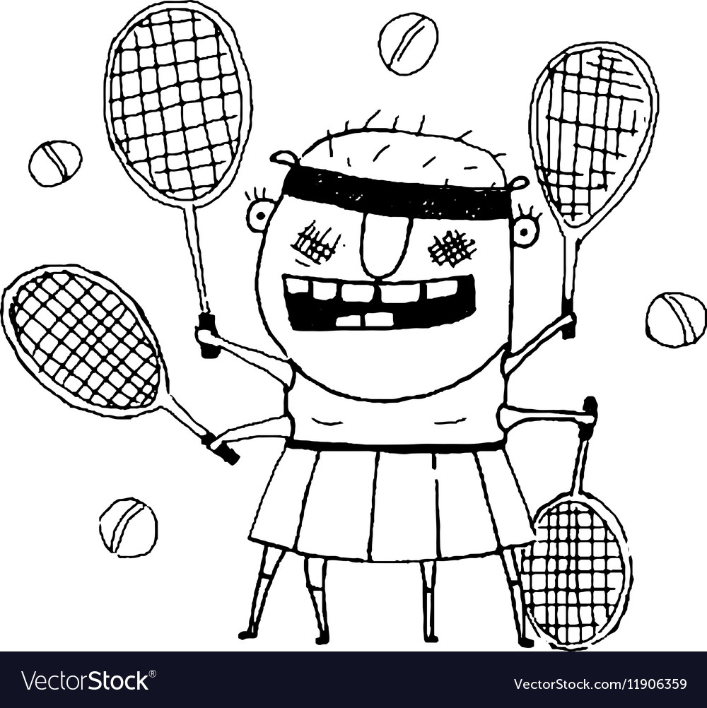 Funny freaky tennis player character monster vector image
