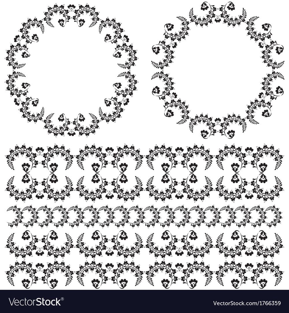 Oriental border and ornament three vector image