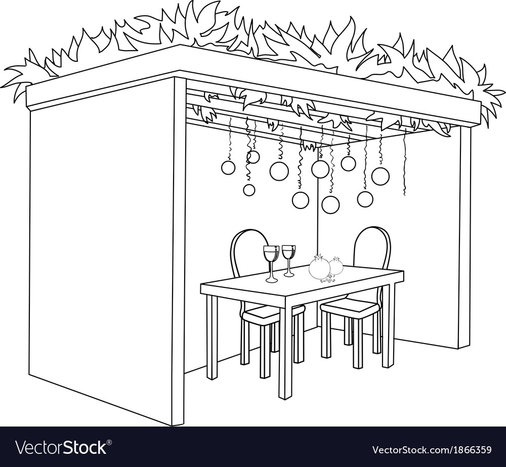 Sukkah For Sukkot With Table Coloring Page Vector Image