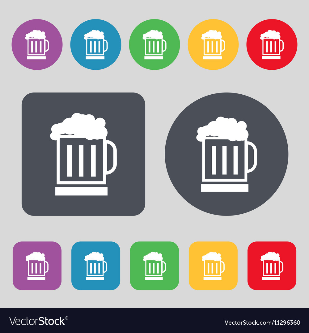 Beer glass icon sign A set of 12 colored buttons vector image