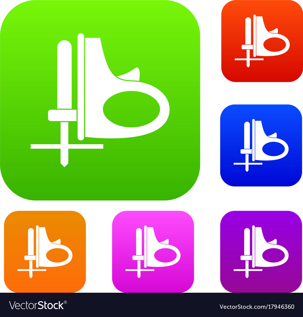 Cordless reciprocating saw set color collection vector image