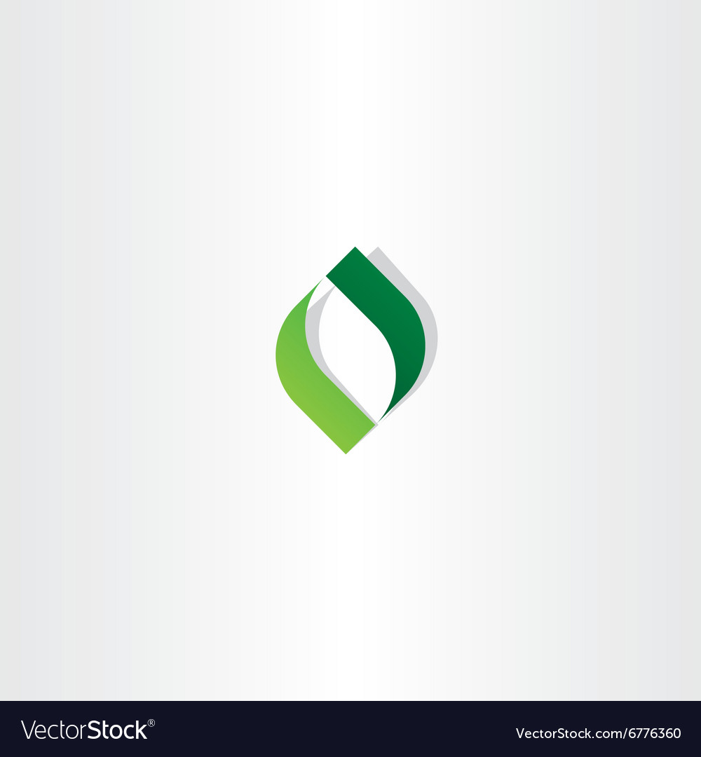 Letter o green leaf logo icon element vector image