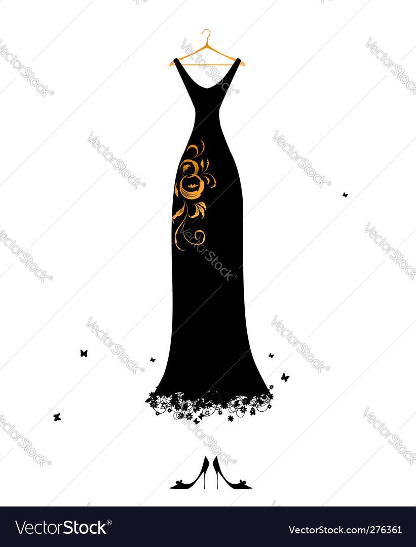 Evening dress black on hangers vector image
