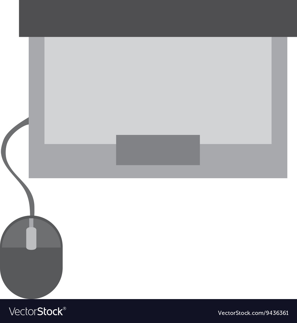 Laptop with mouse topview vector image
