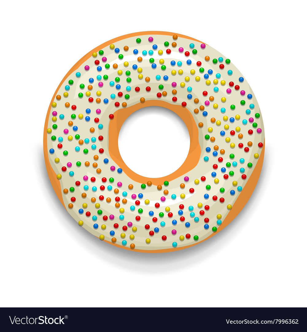 Glazed donut with candies icon cartoon style vector image