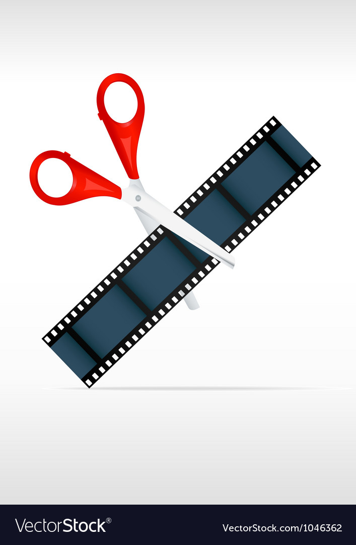 Scissors and film strip Video editing vector image