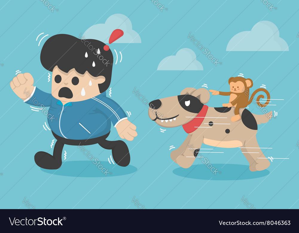 Cartoon concept exerciseRun vector image
