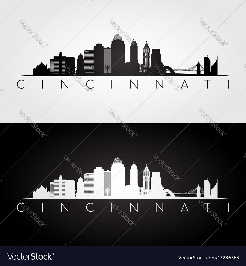 Cincinnati usa skyline and landmarks silhouette vector image