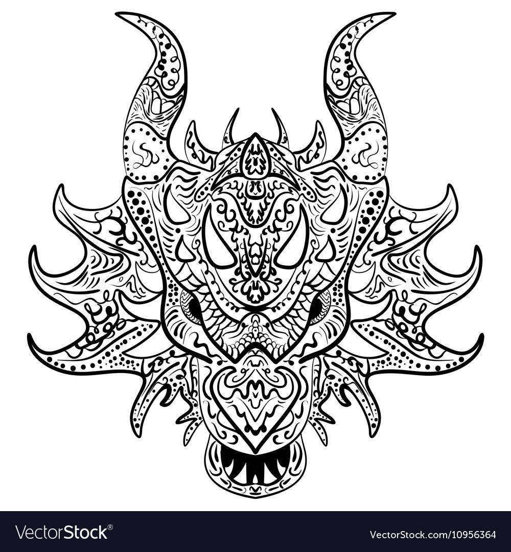 Black and white sketch dragon head Zen-tangle vector image