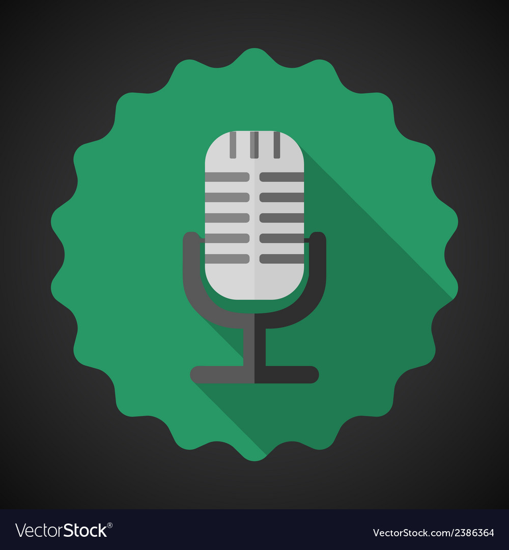 Music Mic Microphone Flat Icon vector image