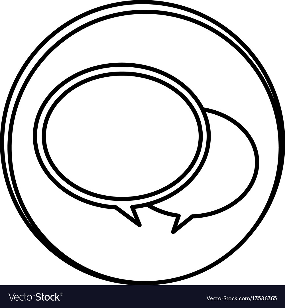 Silhouette symbol round chat bubbles icon vector image