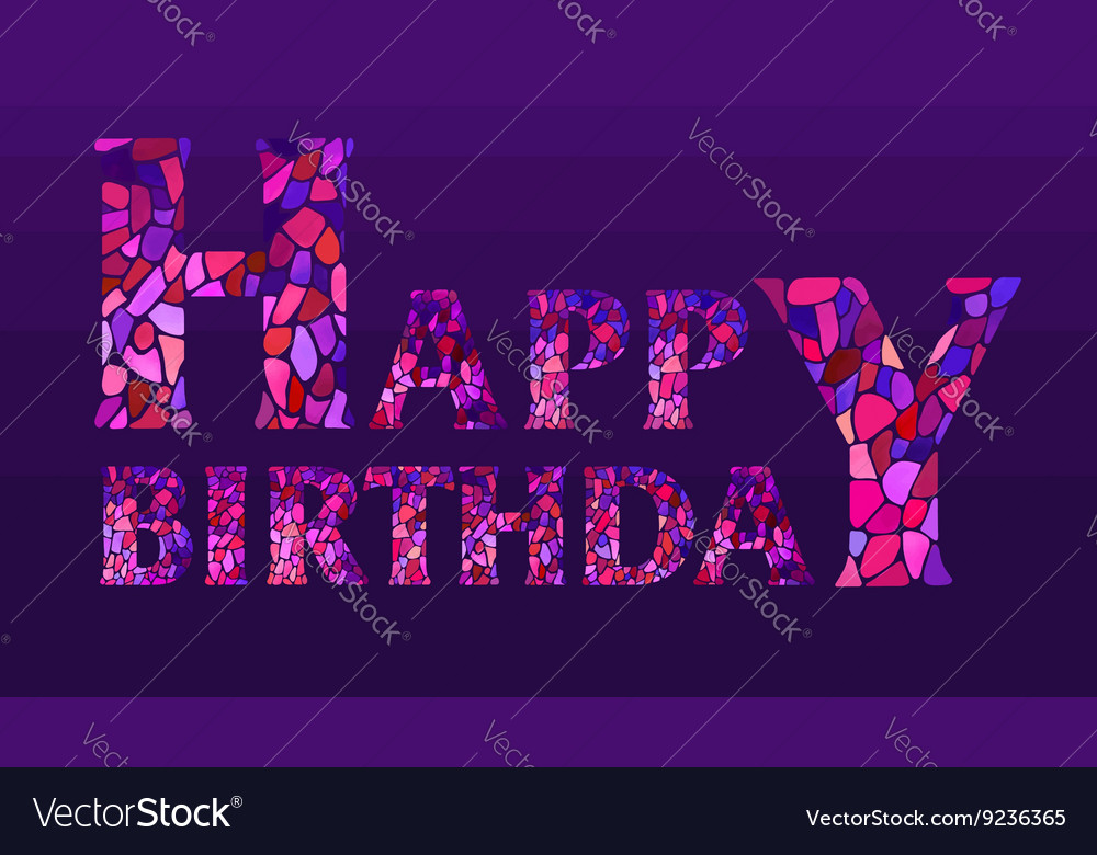 Watercolor mosaic Happy Birthday Greeting Card vector image