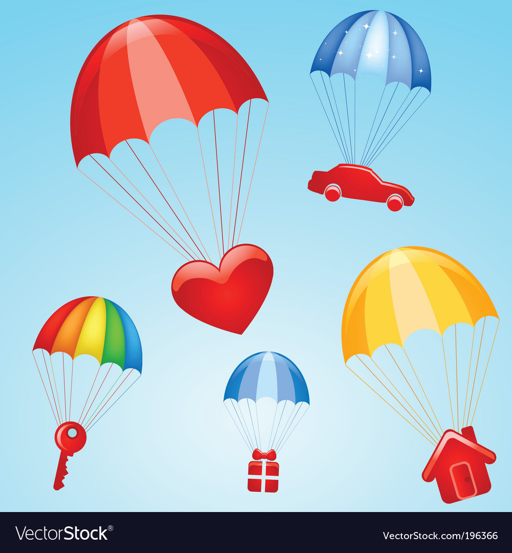 Gifts on parachutes vector image