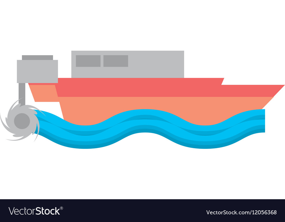 Cartoon boat beach sea wave vector image