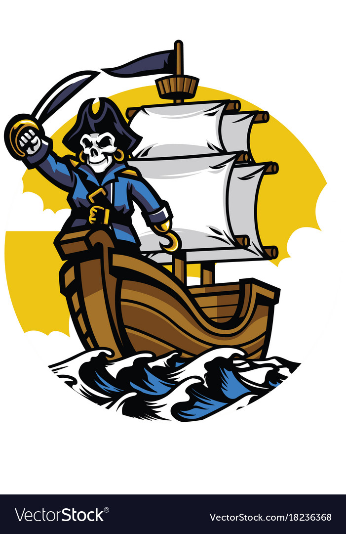 Pirate ship with pirate skull vector image