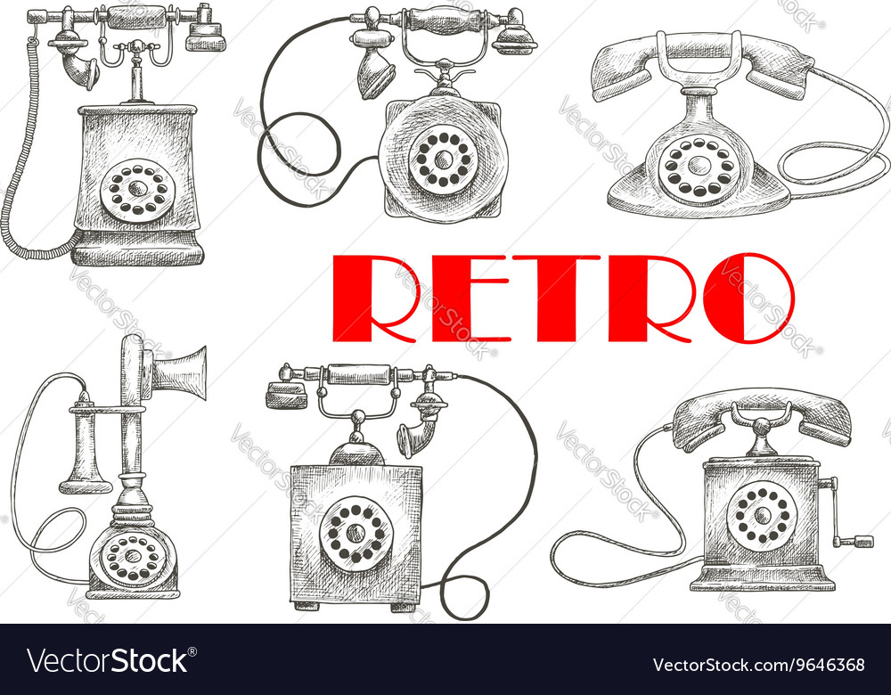Vintage sketched rotary dial telephones symbols vector image