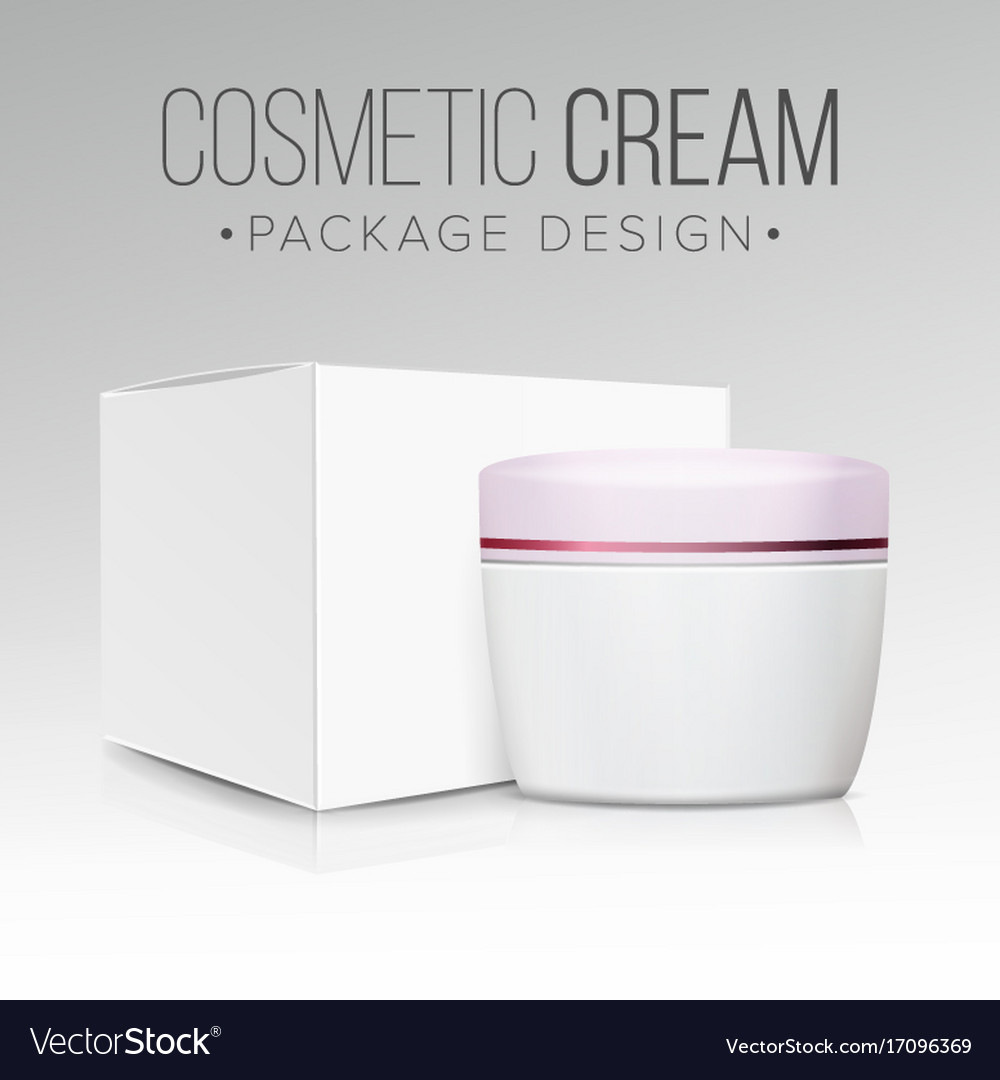 Cream jar packaging empty paper box vector image