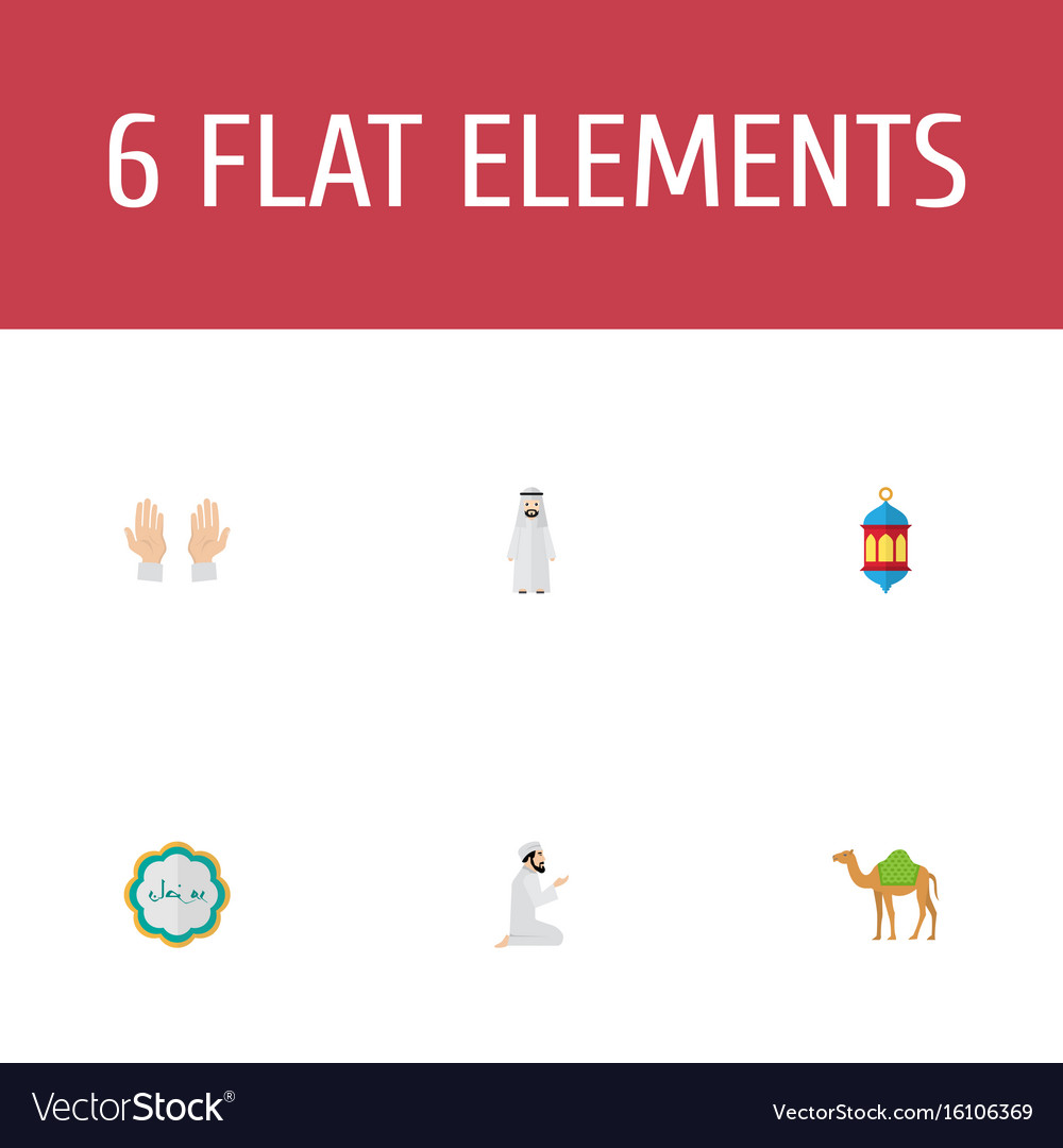 Flat icons dromedary palm decorative and other vector image