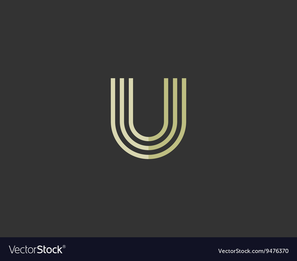 Line letter u logotype Abstract moving airy logo vector image