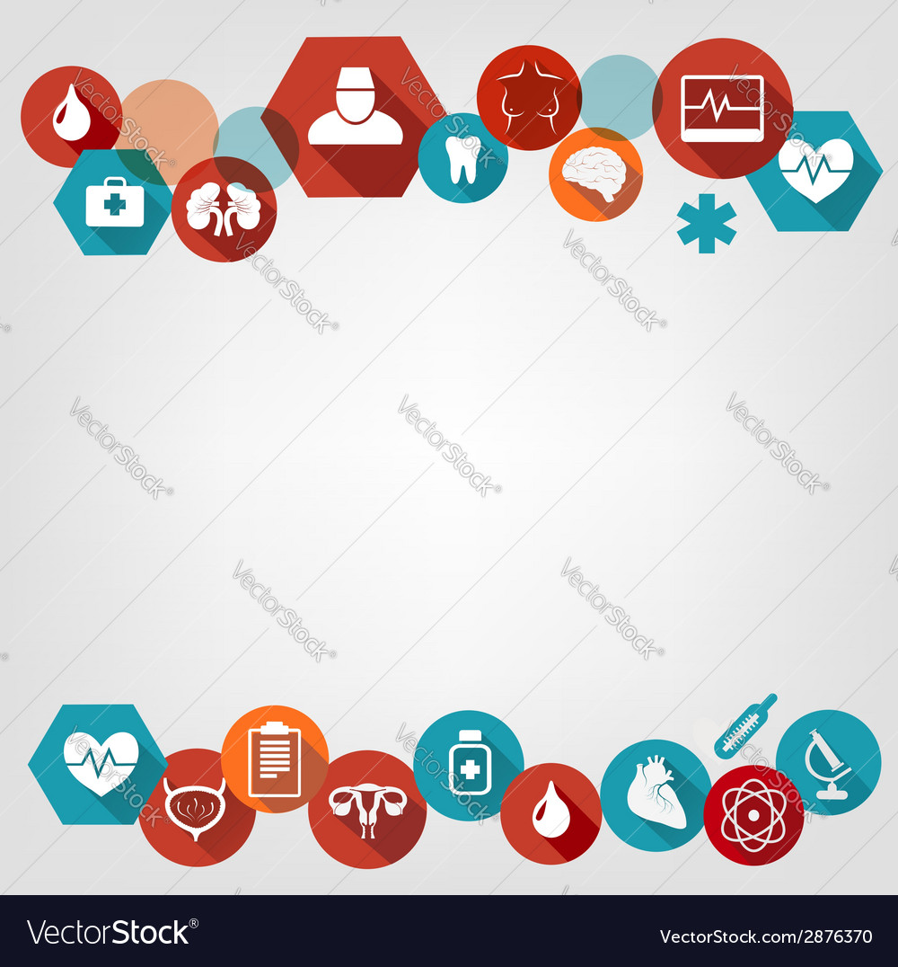 Medical background with colorful icons vector image
