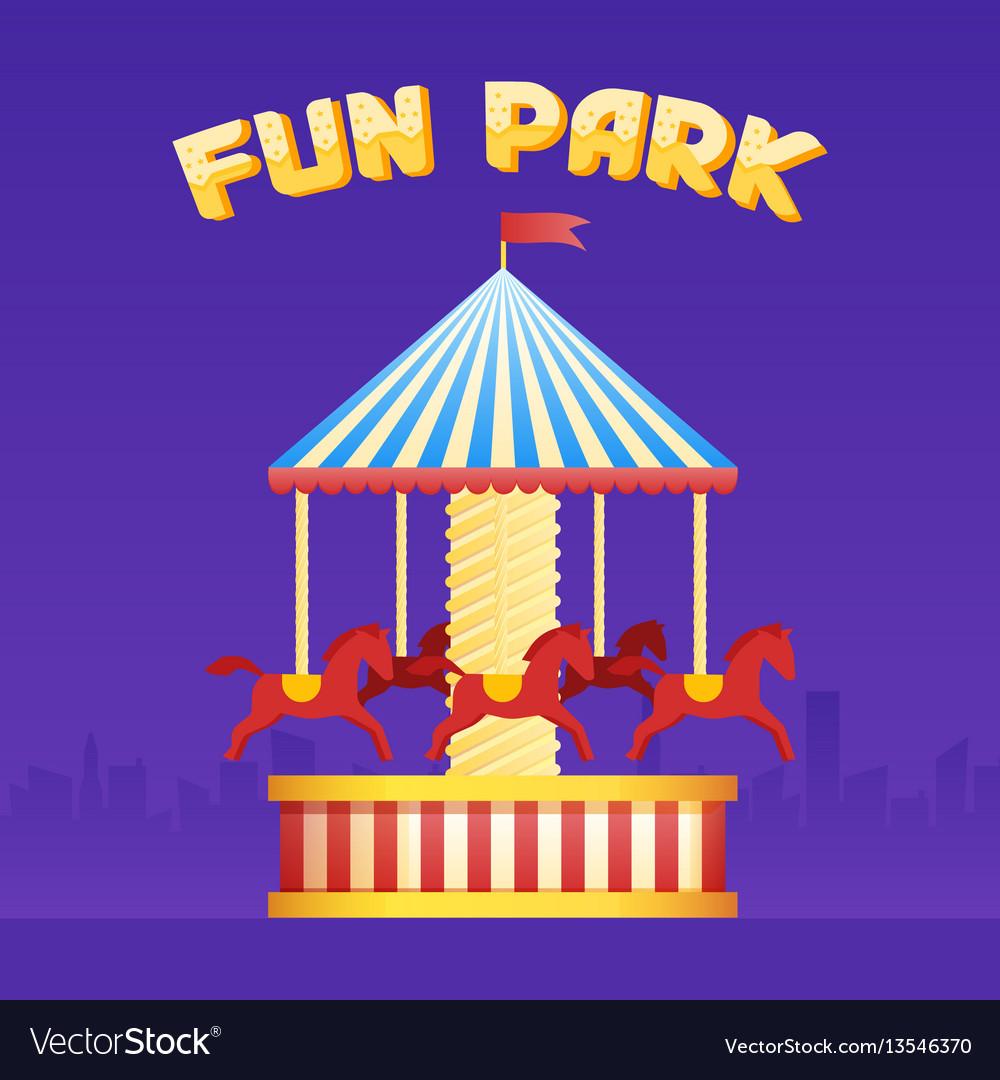 Vintage merry-go-round carousel icon fair symbol vector image