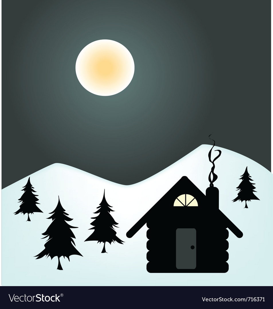 Winter night in cabin Vector Image