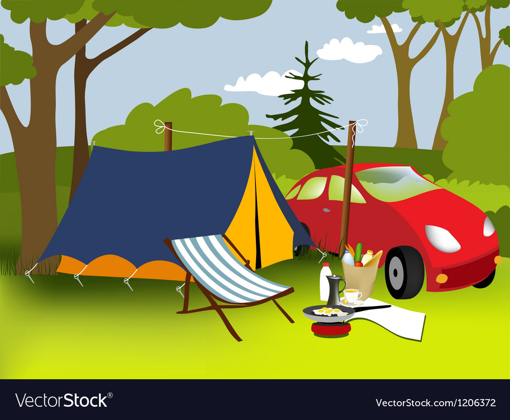Picnic place vector image