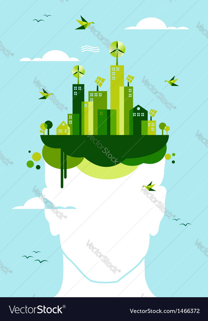 Green city people idea vector image