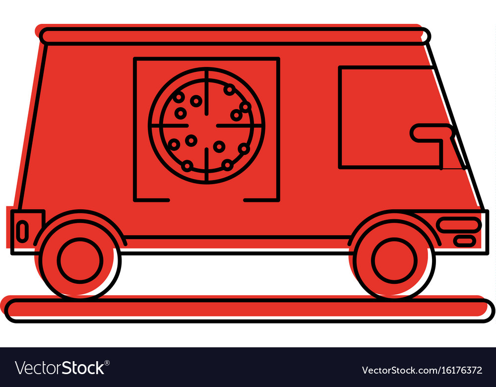 pizza delivery truck icon image royalty free vector image. Black Bedroom Furniture Sets. Home Design Ideas