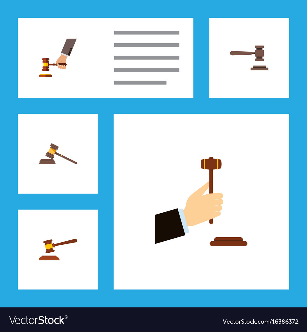 Flat icon court set of crime law hammer and vector image