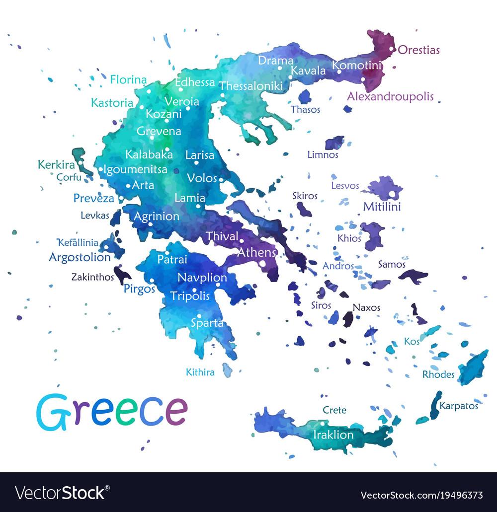 Hand drawn watercolor map greece Royalty Free Vector Image